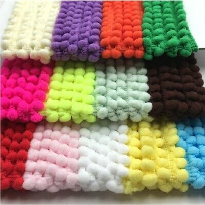 1 Yard Mini Pom Pom Trim 33 COLOURS - Sewing Craft Bobble Fringe Pompom 1357 • 1.95£