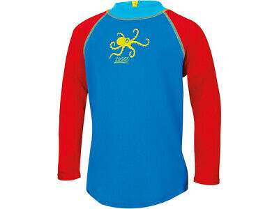 Brand New Boys Zoggs Swimwear - Octopus Fever Zip Sun Top Blue & Red Age 4 Years • 2.99£