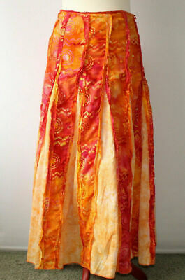 Per Una Cotton Tie Dye Maxi Skirt Ethnic Boho Holiday Orange/Yellow/Pink Uk 10r  • 12£