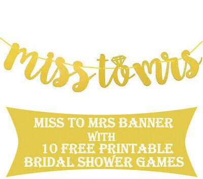 Miss To Mrs Banner With Games Bridal Shower Decorations And Supplies • 7.23£