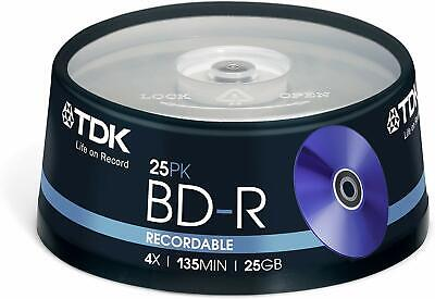£22.94 • Buy TDK T78301 25GB 1-4x Recordable BD-R - Cakebox 25 Pack
