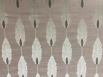 Deco Feathers Blush Pink /Grey Faux Silk 140cm Wide Curtain Fabric • 1.99£