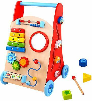 Tooky Wooden Toys Baby Activity Walker Push Along Learning Toy Playset • 48.68£