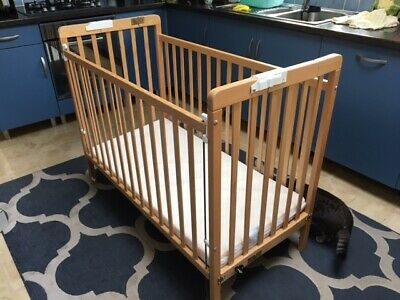Childs Cot, Wooden, Drop Side, Folding. • 40£