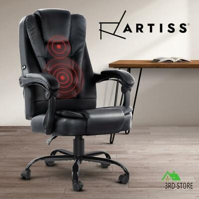 AU184.66 • Buy Artiss Massage Office Chair Gaming PU Leather Recliner Computer Chairs Black