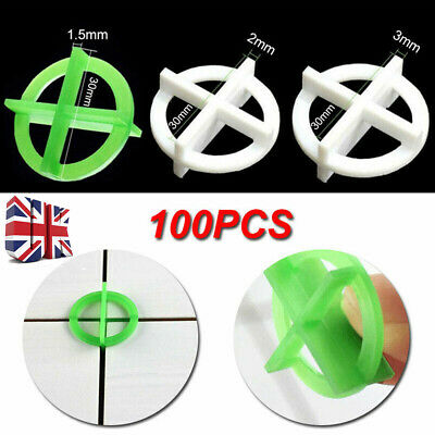 100PCS Cross Tile Leveling System Spacers Recyclable Plastic Tools1.5/2/3mm UK • 6.68£