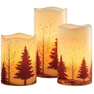 3 Woodland LED Electric Flameless Church Pillar Candles Real Wax Flickering • 19.95£