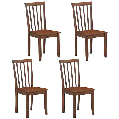 $217.95 • Buy Set Of 4 Dining Chair Kitchen Spindle Back Side Chair W/Solid Wooden Legs Walnut