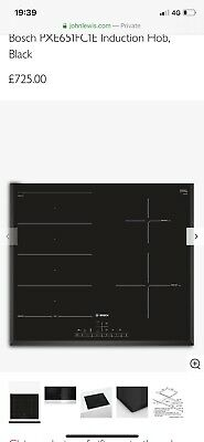 Bosch PXE651FC1E Serie 6 Induction Hob 4 Zones 60cm Black Glass BRAND NEW • 520£