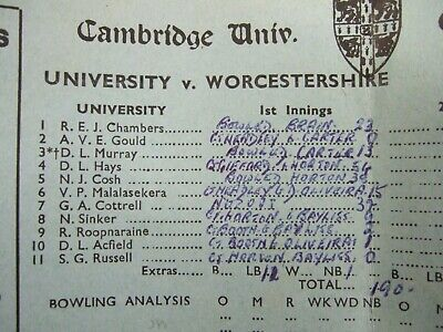 Cambridge University V Worcestershire June 1966 Day 1 Scorecard Basil D'Oliveira • 4.99£