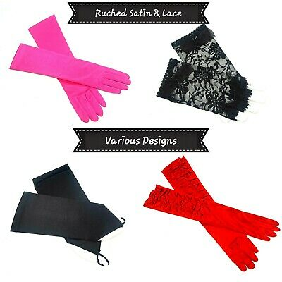 £7.99 • Buy Satin & Lace Gloves Ruched Long Short Various Designs & Colours Pick Yours New