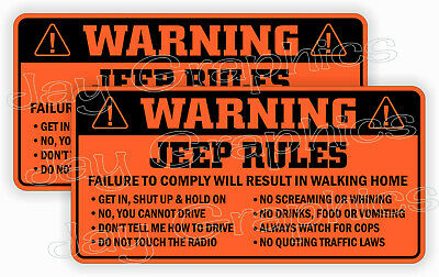 $4.99 • Buy Jeep Rules Warning Stickers Funny Safety Decals JK JL JT Gladiator Wrangler -ORG