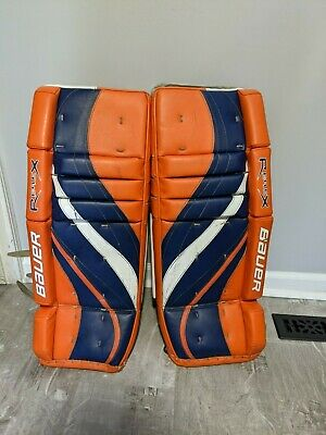 $149.99 • Buy Bauer Rx6 26+1  Junior Jr Hockey Goalie Leg Pads Blue Orange Special Edition
