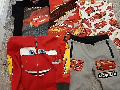 Bundle Disney Cars Lightning McQueen Boys 5-6 And 6-7 Years Thshirts, Hoodie And • 5.50£