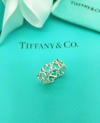 Tiffany & Co Silver Paloma Picasso Loving Heart Band Ring Size L UK Or 5.75 US • 197.21£
