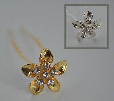 £6.25 • Buy 6 X Flower Hair Pins/accessories/clips With Clear Crystals/rhinestones/diamante
