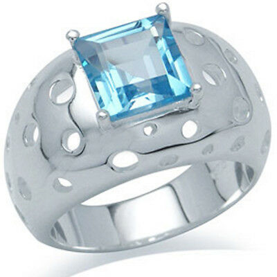 Blue Topaz Square Gemstone Perforated Wide Sterling Silver Ring Size P • 45£