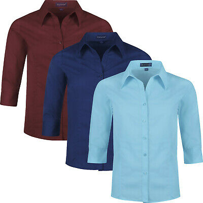 Ladies Three Quarter Sleeve Shirt Womens Button Up Plain Office Work Blouse Top • 4.99£