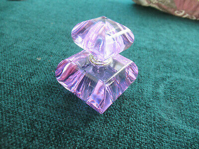 crystal Perfume / Scent Bottle, With Screw Top And With Wand Purple Glass • 2.30£