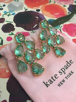 $ CDN80.38 • Buy Kate Spade Ny Crystal Petals Bridal Chandelier Drop Earrings Sparkling Green