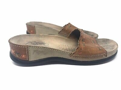 $20 • Buy ROPER Tan Leather Western Cowgirl Slides W/painted Flowers Women's Sz 10 Sandals