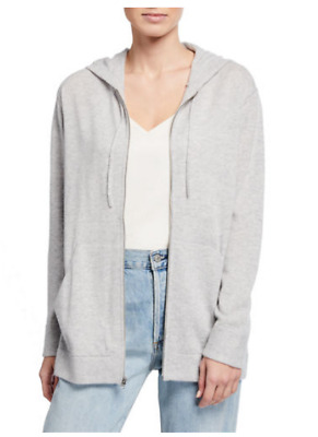 $174.77 • Buy VINCE Cashmere & Wool Zip Front Grey Sweater Hoodie Womens Medium *NEW* $395