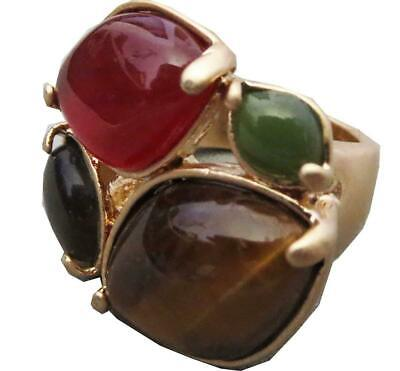 $ CDN8.76 • Buy Lia Sophia Spiceberry Ring Tiger's Eye Red Green In Gold RV$74 Size 5 - 11