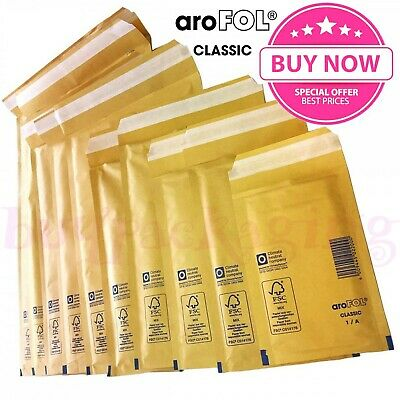 £51.81 • Buy Arofol Genuine Gold Bubble Padded Envelopes Mailers Bags *all Sizes / Qty's*