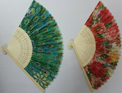 Hand Held Fan - Silk Bamboo - Floral Peacock Feather Design - Summer Hot Weather • 4.99£