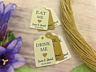 £2.50 • Buy Personalised Drink Me Eat Me Tag Wedding Favour Tags Thank You Christmas DE90m