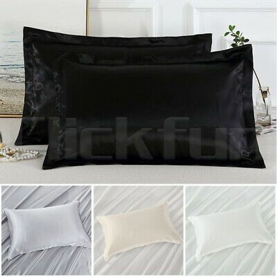 AU11.99 • Buy 2in1 Silk Satin Pillow Case Cover Solid  Bedding Smooth Soft Pillowcase