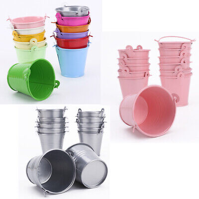 £13.49 • Buy 12pcs Mini Metal Bucket Candy Favours Box Pail Wedding Party Gifts- Color Choose
