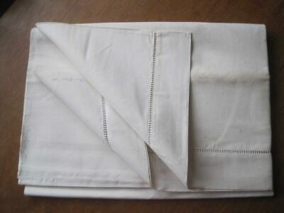 Large Unused White French Linen Metis Sheet Or Curtain, Tablecloth, Projects • 38£