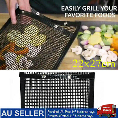 AU18 • Buy 5PCS BBQ Grill Pad Mat Bag Teflon Nonstick Mesh Net Barbecue Grilling Baking Bag