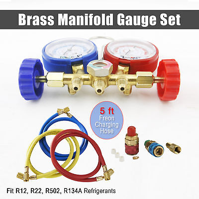 $25.90 • Buy R134A R12 R22 R502 Diagnostic Brass Manifold Gauge ACME Adapter & 5FT Hoses New~