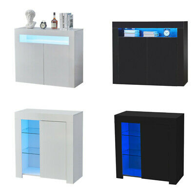 £89.99 • Buy High Gloss Cupboard Cabinet Display Sideboard Storage With Door Glass LED Light