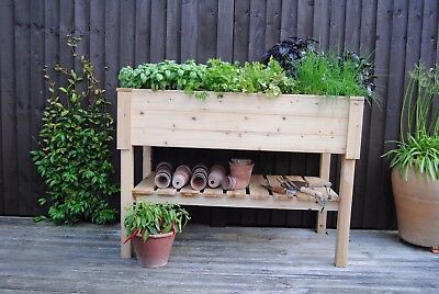 Raised Wooden Planter, Herb Garden, Salad Grower With Shelf And Liner. • 59.95£