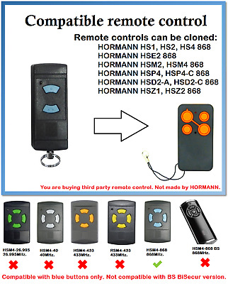 £11.74 • Buy Remote Control Duplicator For HORMANN HSE2 868 (Blue Buttons Only)