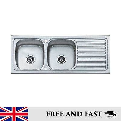 Large Double Bowl Reversible Drainer Stainless Steel Inset Kitchen Sink • 249£
