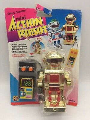 Vintage Toy Mini Action Robot Gold Remote Control Controlled Space Toys 1980's • 24.99£