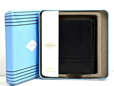 $45.86 • Buy Fossil Wilder Mens Leather Trifold Card Wallet Black