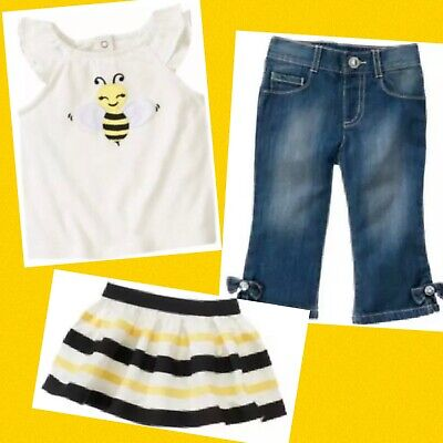 """$49.99 • Buy NWT Girls 18-24 Gymboree """"BEE CHIC"""" Cotton Off-White Wing TOP Ribbon SKIRT JEANS"""