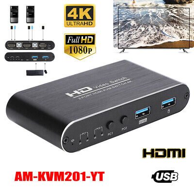 AU48.85 • Buy 4K 2-Port KVM Switch Box Video Switcher HDMI USB For Keyboard Mouse Monitor PC