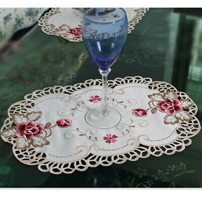 Set Of 4 Embroidered Floral Lace Placemats Dining Table Mats Doilies Kitchen • 6.76£