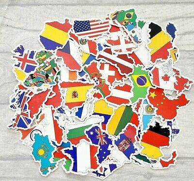 £7 • Buy 50 World Country Stickers, National Flag/maps/country Vinyl Sticker, Waterproof
