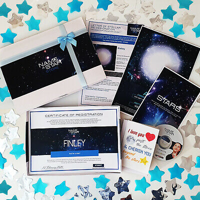 £12.99 • Buy Personalised Christening Gifts For Him Name A Star Box Set Godson Godparents