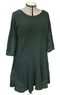 $ CDN79 • Buy $148 MAEVE Anthropologie Tierra Dress Hunter Green Lace Crotchet L Large XL