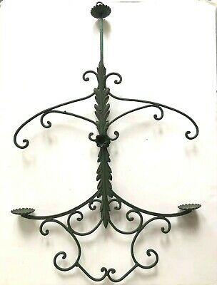 Vtg Hanging Candle Holder Candelabra Tole Metal Wrought Iron Antique Acanthus • 165.74£