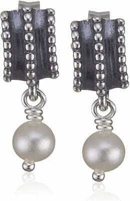 Authentic Pandora Silver And White Pearl Braided Drop Earrings 290286p • 30.38£