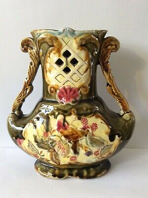£18.99 • Buy Karlsruhe Germany Grand Ducal Style, Majolica Vase. Two Handles, Cut Out Front.